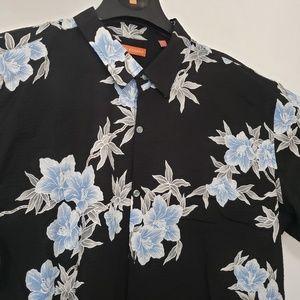 Tori Richard Mens Hawaiian Button Down Shirt Black
